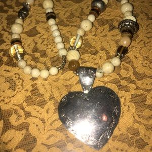 Jewelry - Vintage Mexico sterling natural stone necklace